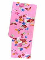 琉球紅型風 女性用浴衣 特選変り織り浴衣 トールサイズ 【桃、流水に花蝶】