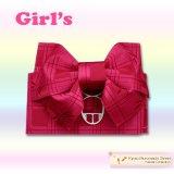 子供浴衣帯 女の子用作り帯(結び帯)【濃いピンク、トンボ】