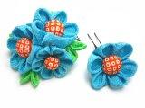 オリジナル手作り髪飾り-ちりめん・水色の花 2本セット