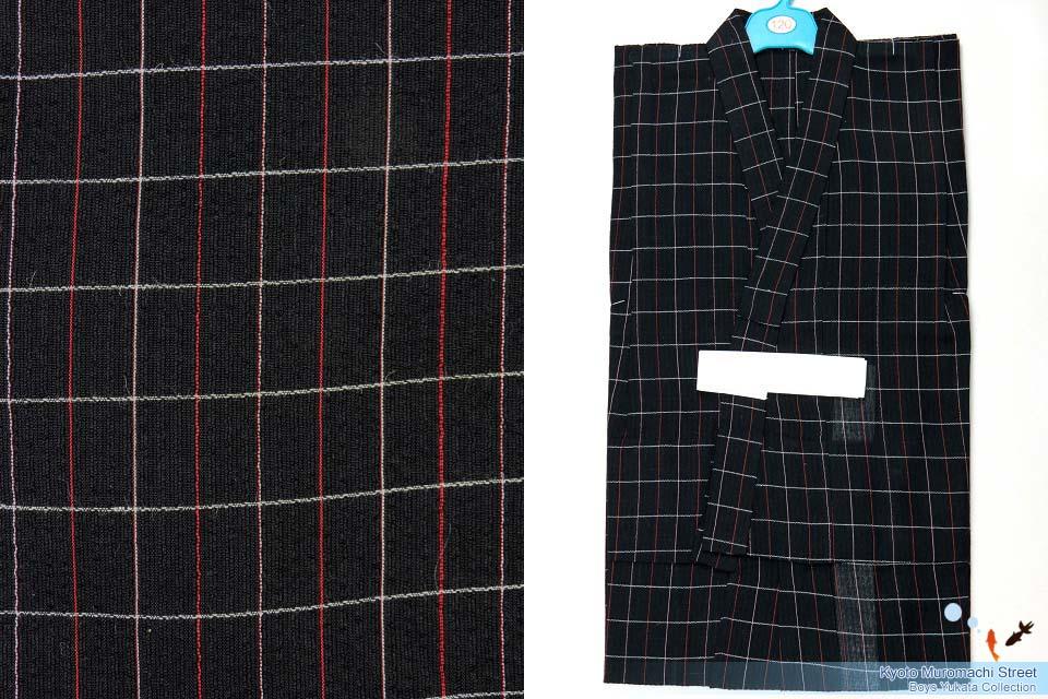 画像1: 子供浴衣 麻混しじら織の男の子用浴衣(ラメ入り) 120サイズ【黒地】