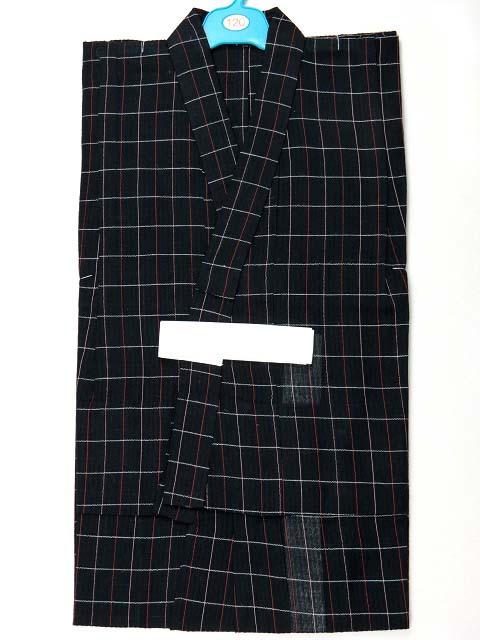 画像2: 子供浴衣 麻混しじら織の男の子用浴衣(ラメ入り) 120サイズ【黒地】