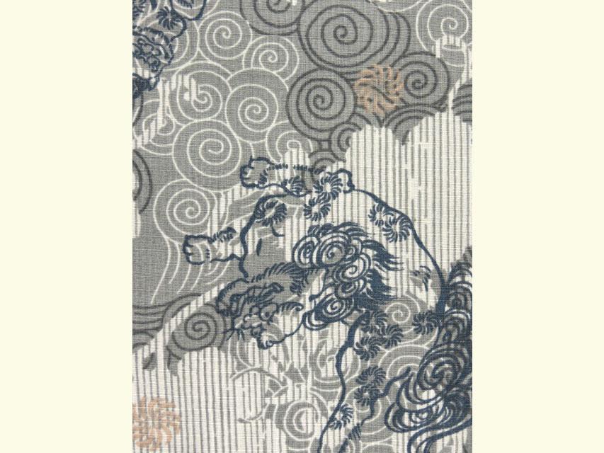 画像4: 子供浴衣 100cm 男の子 渋い絵柄の変り織り浴衣【グレー 唐獅子】