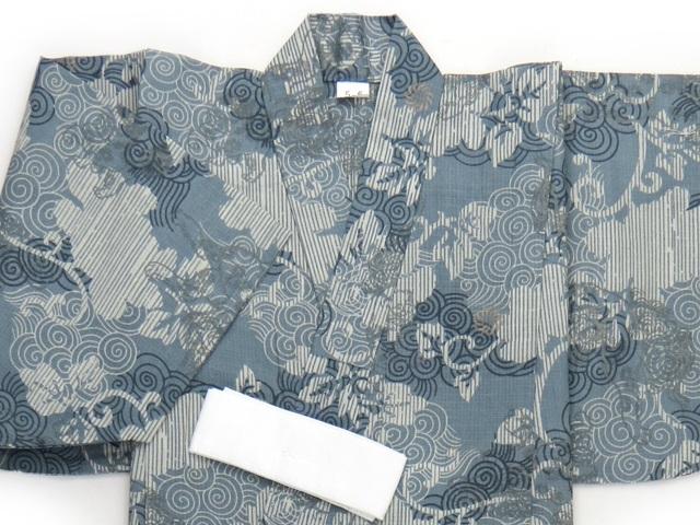 画像2: 子供浴衣 男の子用 変り織り こども浴衣 110サイズ【青鼠系、唐獅子】