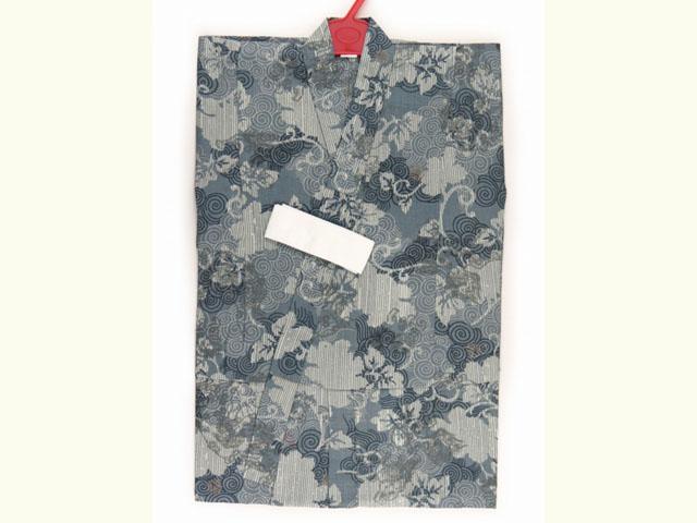 画像3: 子供浴衣 男の子用 変り織り こども浴衣 110サイズ【青鼠系、唐獅子】