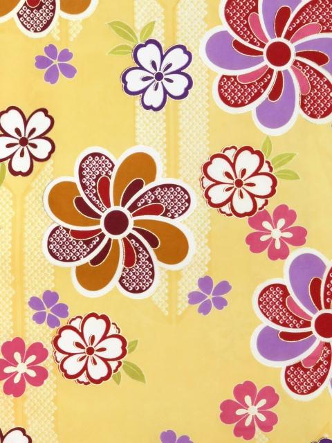 画像3: 卒業式 袴セット 古典柄の小振袖(二尺袖の着物)【薄黄、矢羽根と花】と無地袴「明るいエンジ」