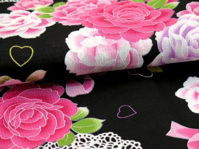 画像4: 子供浴衣 女の子 変り織り浴衣(110サイズ)【黒地、ハートと薔薇・リボン】