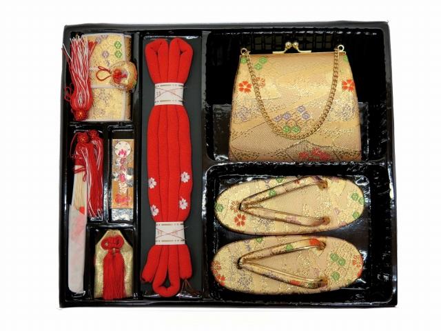 画像2: 七五三 3歳女の子用 金襴 結び帯&箱せこペアセット(小寸)【金】