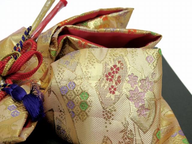画像4: 七五三 3歳女の子用 金襴 結び帯&箱せこペアセット(小寸)【金】