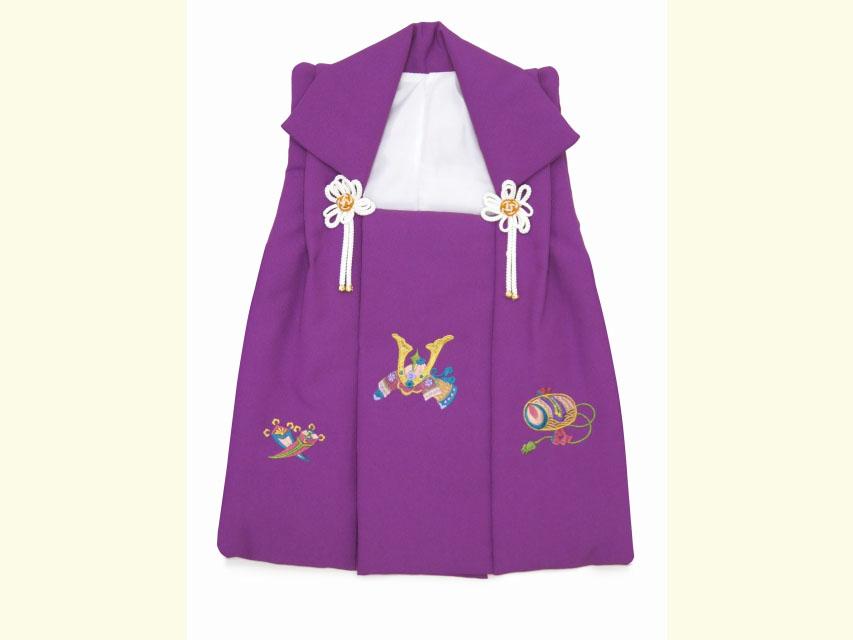 画像2: 被布コート 単品 七五三 3歳男の子用 刺繍入り被布コート(合繊)【紫 兜】