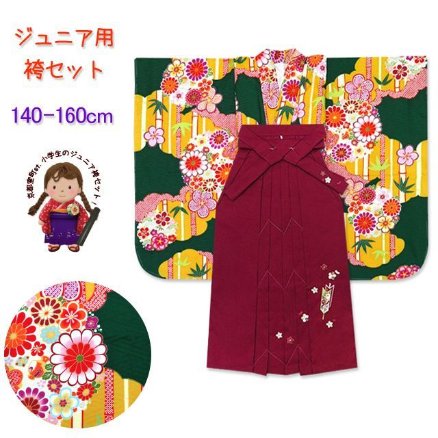 画像1: 小学校の卒業式に 女子用 ジュニア振袖(合繊)【深緑 桜と菊に竹】と刺繍袴「明るいエンジ」セット