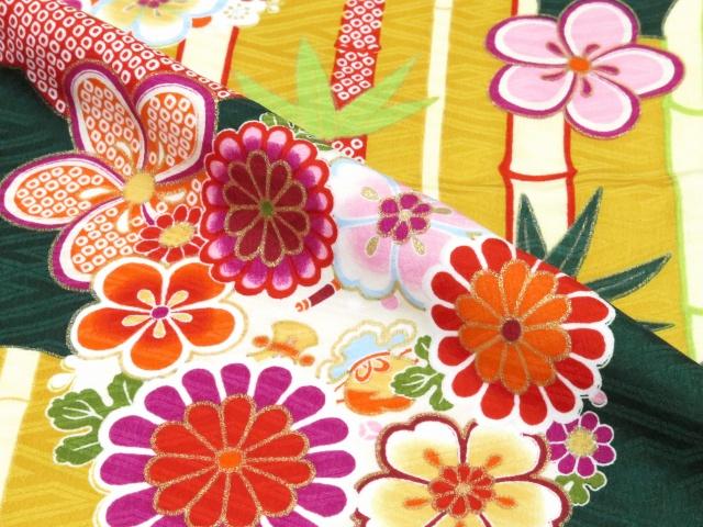 画像4: 小学校の卒業式に 女子用 ジュニア振袖(合繊)【深緑 桜と菊に竹】と刺繍袴「明るいエンジ」セット