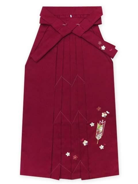 画像5: 小学校の卒業式に 女子用 ジュニア振袖(合繊)【深緑 桜と菊に竹】と刺繍袴「明るいエンジ」セット