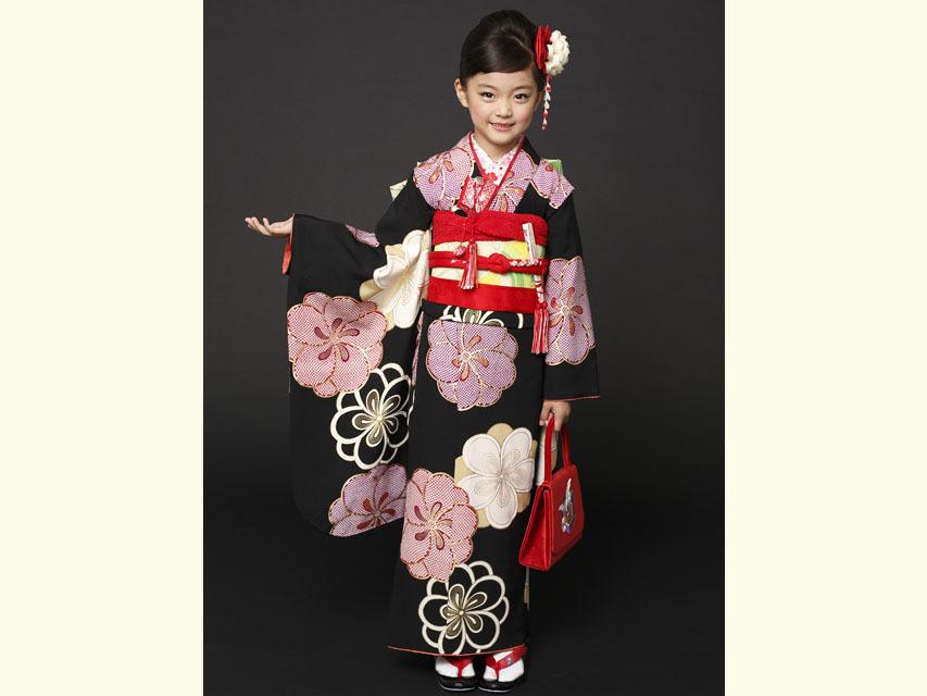 """画像3: 七五三 着物 ブランド""""紅一点"""" 正絹の子供着物フルセット【黒地 古典桜】"""