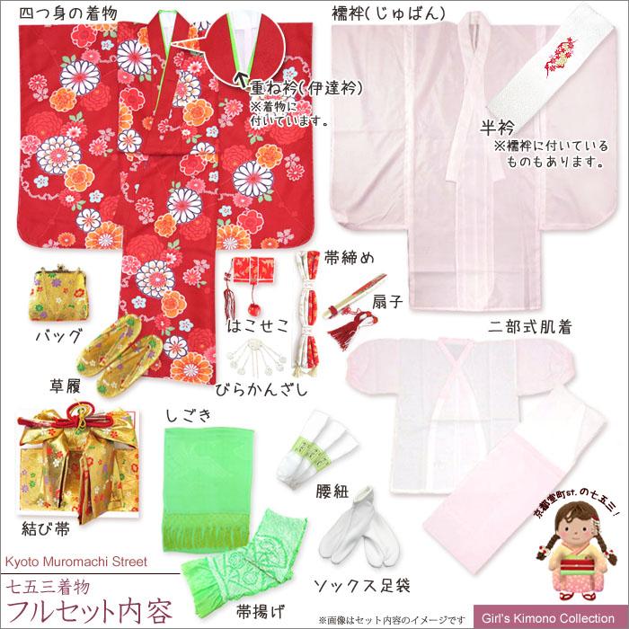 """画像5: 七五三 着物 ブランド""""紅一点"""" 正絹の子供着物フルセット【黒地 古典桜】"""