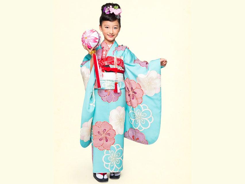 """画像2: 七五三 着物 ブランド""""紅一点"""" 正絹の子供着物フルセット【水色 古典桜】"""