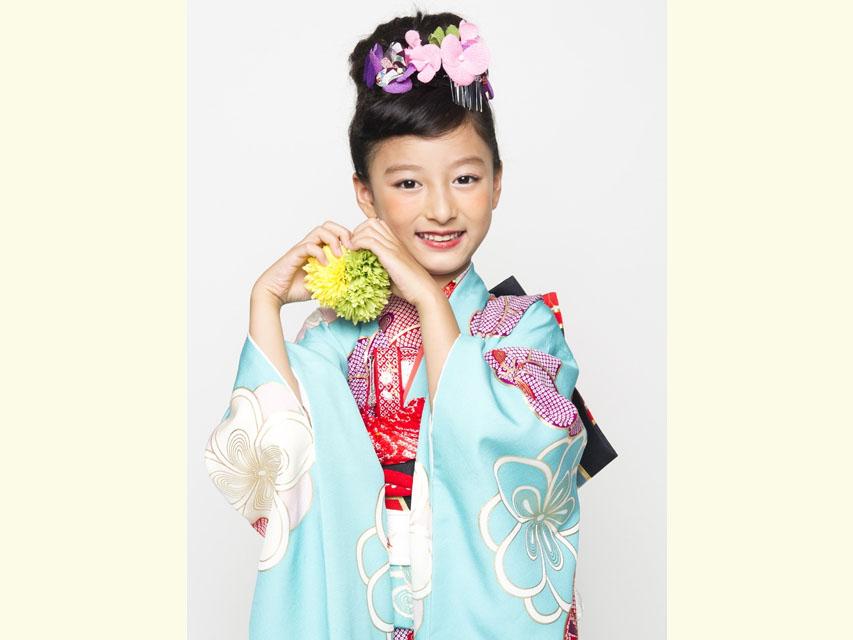 """画像4: 七五三 着物 ブランド""""紅一点"""" 正絹の子供着物フルセット【水色 古典桜】"""