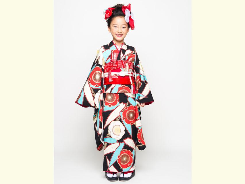 """画像2: 七五三 着物 ブランド""""紅一点"""" 正絹の子供着物フルセット【黒地 笹と桜】"""