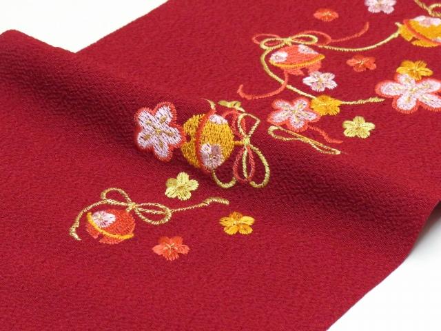 画像3: 七五三の着物に 女の子用 刺繍入りの半衿(合繊)【エンジ 梅に鈴】