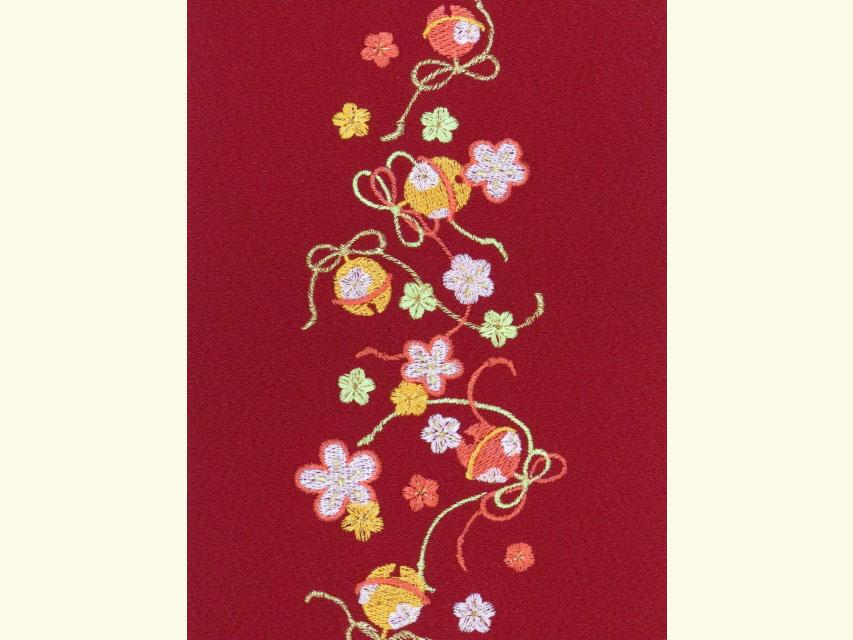 画像4: 七五三の着物に 女の子用 刺繍入りの半衿(合繊)【エンジ 梅に鈴】