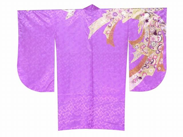 画像2: 卒業式袴セット an・anブランド短尺 小振袖(二尺袖の着物)【紫系 束ね熨斗】と無地袴「エンジ」セット
