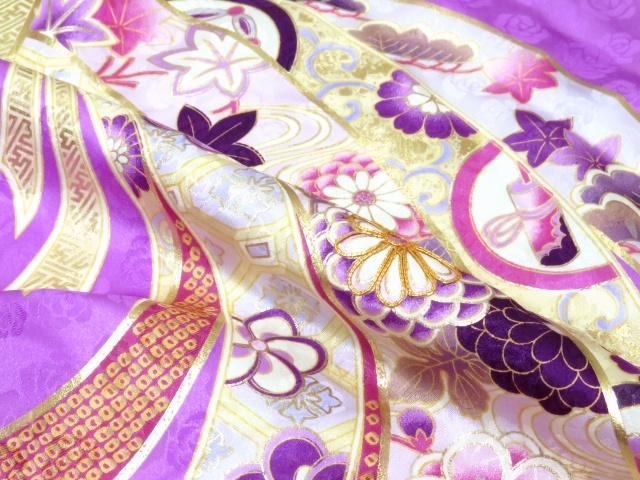 画像4: 卒業式袴セット an・anブランド短尺 小振袖(二尺袖の着物)【紫系 束ね熨斗】と無地袴「エンジ」セット