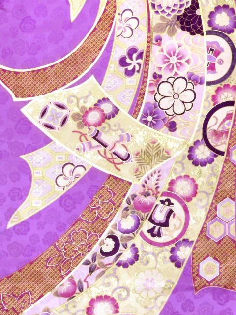 画像3: 卒業式袴セット an・anブランド短尺 小振袖(二尺袖の着物)【紫系 束ね熨斗】と刺繍袴「紫系」セット