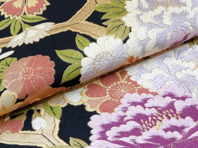 画像5: 成人式 お正月に 振袖用袋帯(お仕立て上がり)【黒 牡丹に亀甲】