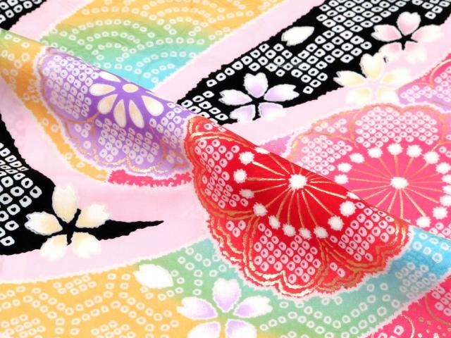 画像5: 七五三 7歳 女の子 絵羽柄の子供着物(正絹)【黒 桜に熨斗】