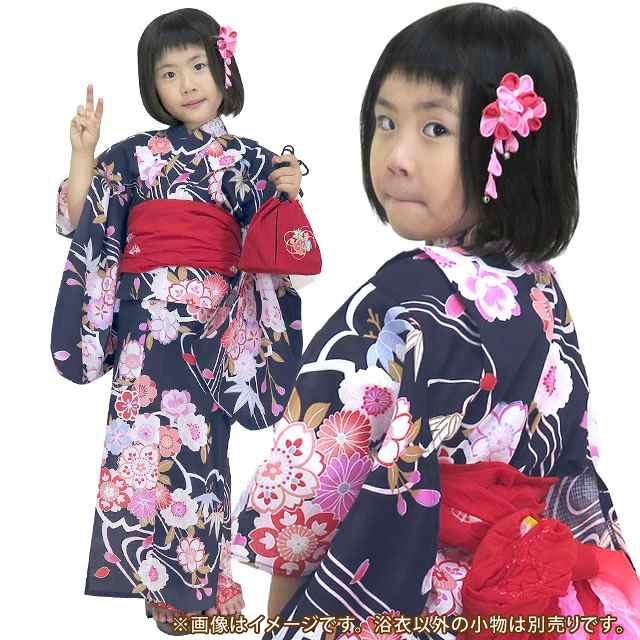 画像3: 子供浴衣 京都室町st.オリジナル 古典柄のこども浴衣 110サイズ【濃紺色、桜流水】