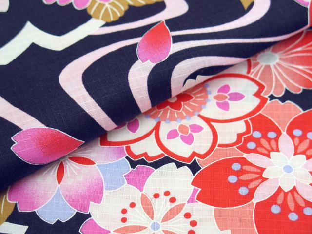 画像4: 子供浴衣 京都室町st.オリジナル 古典柄のこども浴衣 110サイズ【濃紺色、桜流水】