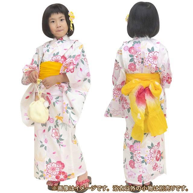 画像3: 子供浴衣 京都室町st.オリジナル 古典柄のこども浴衣 110サイズ【生成り、桜流水】
