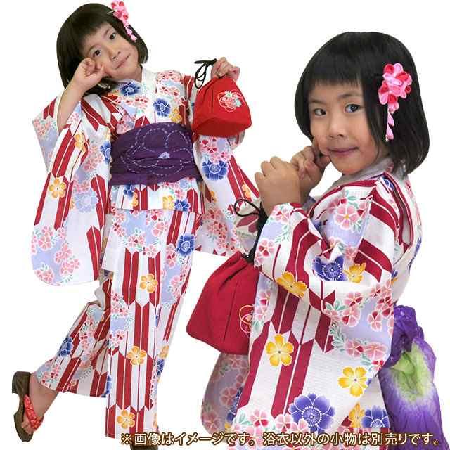 画像3: 子供浴衣  女の子用 古典柄のこども浴衣 110サイズ【生成り、赤 矢絣に花】