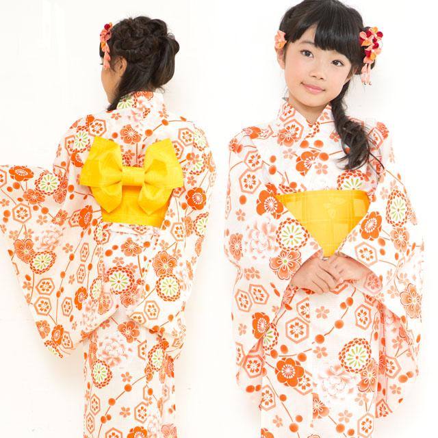 画像4: オリジナル浴衣 子供用 古典柄の女の子浴衣 110cm【生成り・オレンジ系 古典柄】