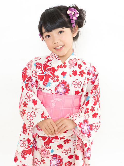 画像2: オリジナル浴衣 子供用 古典柄の女の子浴衣 110cm【生成り・赤系 桜と千鳥】