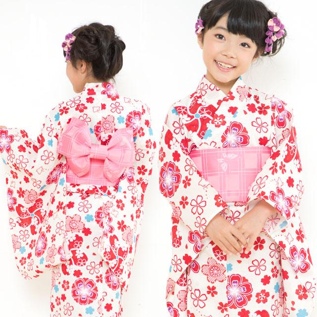 画像4: オリジナル浴衣 子供用 古典柄の女の子浴衣 110cm【生成り・赤系 桜と千鳥】