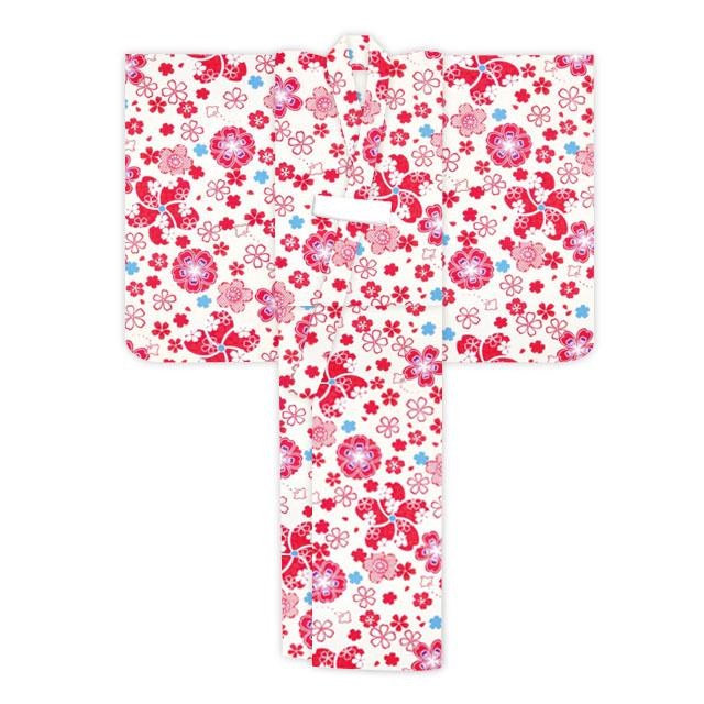 画像5: オリジナル浴衣 子供用 古典柄の女の子浴衣 110cm【生成り・赤系 桜と千鳥】