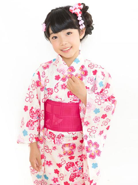 画像2: オリジナル浴衣 子供用 古典柄の女の子浴衣 110cm【生成り・ピンク系 桜に鹿の子】