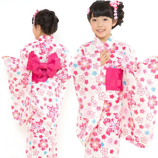 画像4: オリジナル浴衣 子供用 古典柄の女の子浴衣 110cm【生成り・ピンク系 桜に鹿の子】