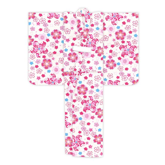 画像5: オリジナル浴衣 子供用 古典柄の女の子浴衣 110cm【生成り・ピンク系 桜に鹿の子】