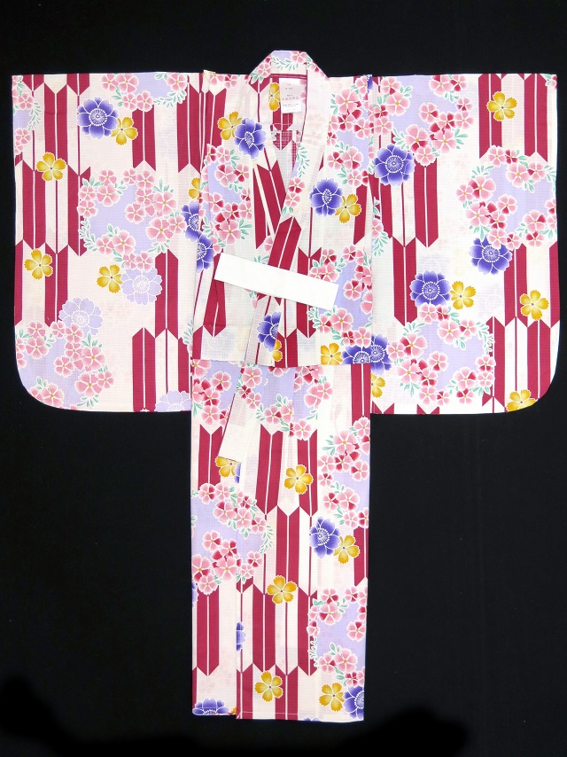 画像4: 子供浴衣 110cm 女の子用 京都室町st.オリジナル 古典柄のこども浴衣【生成り 赤矢絣に花】