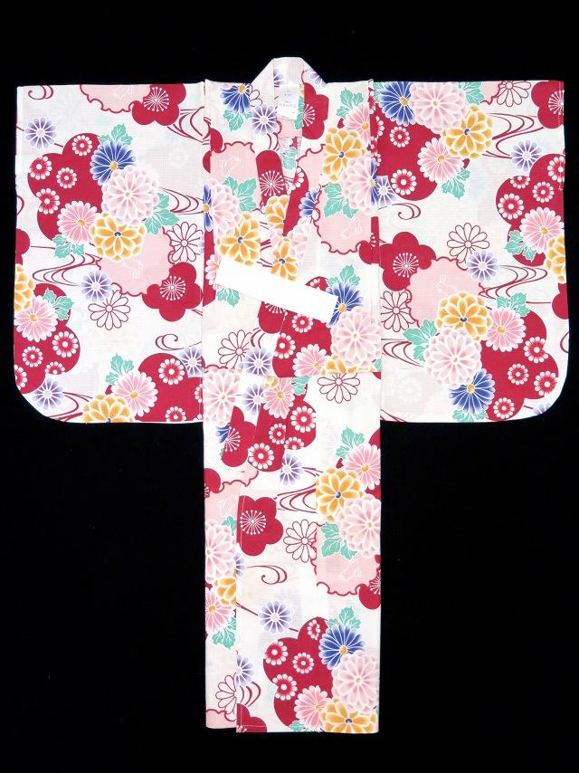 画像4: 子供浴衣 110cm 女の子用 京都室町st.オリジナル 古典柄のこども浴衣【生成り 赤系菊と雪輪】