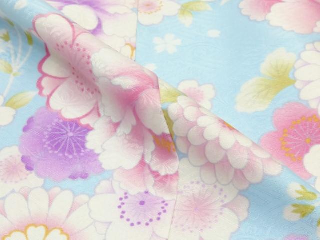画像5: <訳ありセール>卒業式に 小学生の女の子 総柄の着物(ジュニア用振袖) 150cm【水色 牡丹と菊に桜】 ※襦袢付き