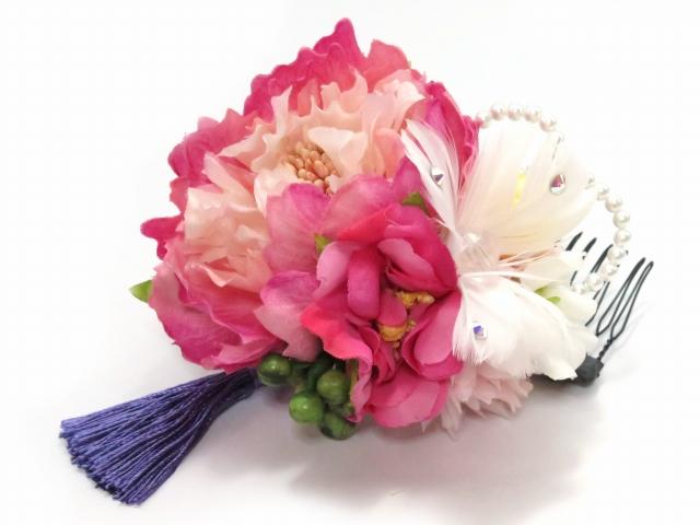 """画像2: 卒業式や成人式など、フォーマルな装いに """"Sumika"""" プロ仕様のオリジナル花髪飾り 【ピンク ピオニーにマム ヘザー 房付き】3点セット"""