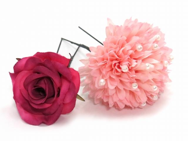 """画像3: 卒業式や成人式など、フォーマルな装いに """"Sumika"""" プロ仕様のオリジナル花髪飾り 【ピンク ピオニーにマム ヘザー 房付き】3点セット"""