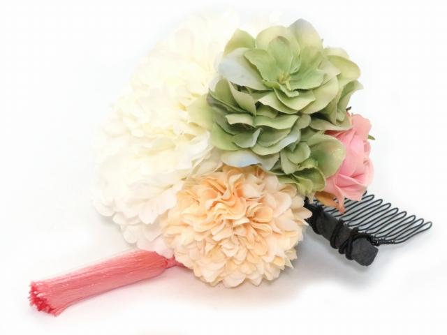 """画像2: """"sumika"""" 髪飾り 大人用 手作りの髪飾り 3点セット【ホワイトピオニー】"""