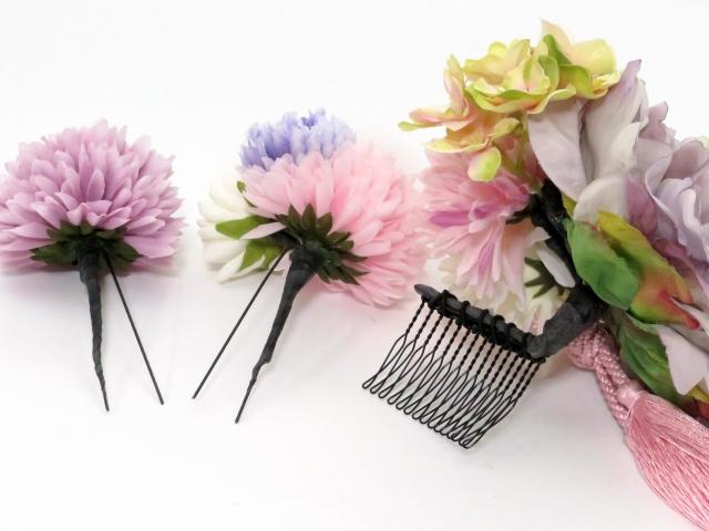 """画像4: """"sumika"""" 髪飾り 大人用 手作りの髪飾り 3点セット【パープルピオニー 組紐】"""