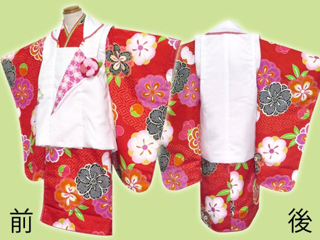 画像2: 七五三 着物 式部浪漫ブランド 3歳女の子お祝い着物(Lサイズ) フルセット【白&赤、古典桜】※適応身長100cm前後