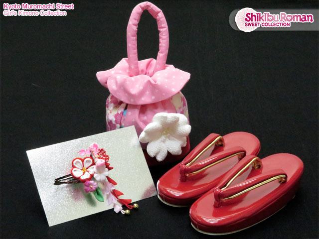 画像5: 七五三 着物 式部浪漫ブランド 3歳女の子お祝い着物(Lサイズ) フルセット【白&赤、古典桜】※適応身長100cm前後