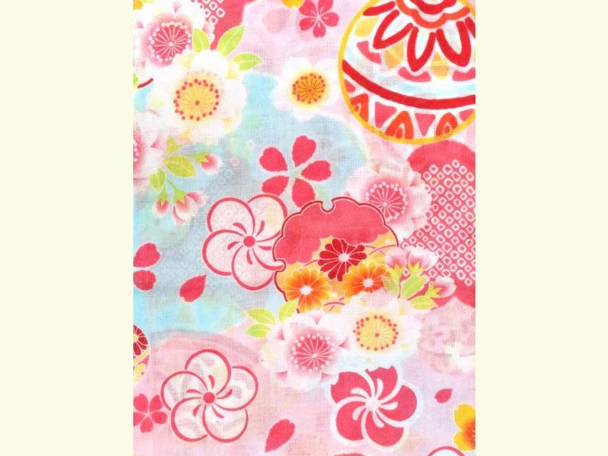 画像4: こども浴衣 式部浪漫ブランド 女の子浴衣 110cm【ピンク、鞠】