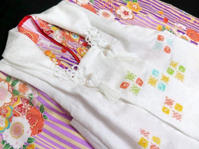"""画像4: 七五三 着物  """"式部浪漫""""ブランド 3歳女の子の着物フルセット(正絹)【紫、雪輪】"""